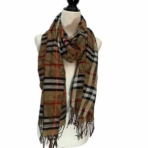 "Plaid Scarf With ""Burberry"" Design"
